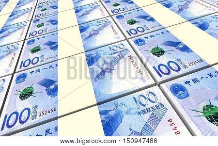 Yuan money bills stacks background. 3D illustration.