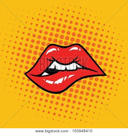 Sexy Biting Lips Pop Art Vector Illustration