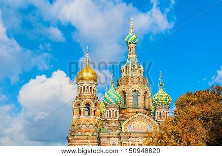 Cathedral of Our Saviour on Spilled Blood in St Petersburg Russia in sunny autumn day. Architecture autumn view of St Petersburg landmark