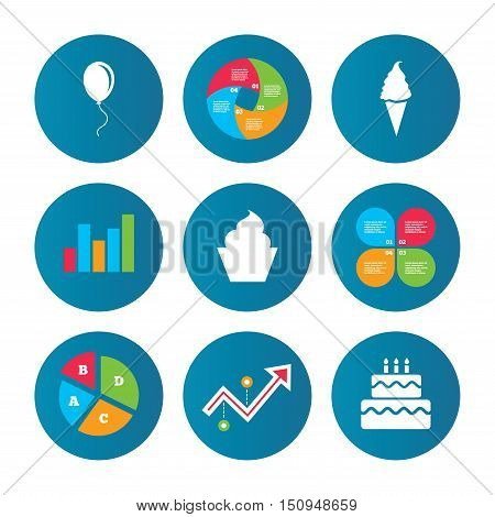 Business pie chart. Growth curve. Presentation buttons. Birthday party icons. Cake with ice cream signs. Air balloon with rope symbol. Data analysis. Vector
