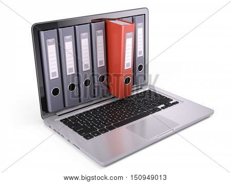 Ring binders, file folders inside the screen of laptop isolated on white. 3d render
