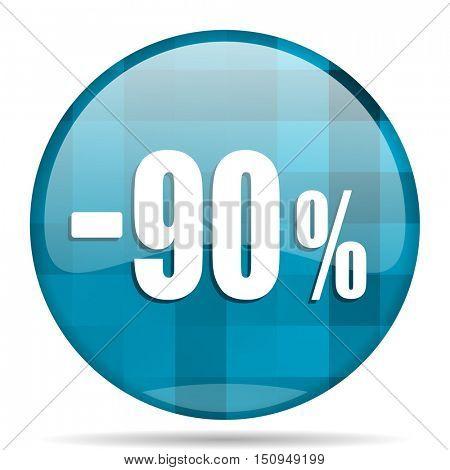 90 percent sale retail blue round modern design internet icon on white background