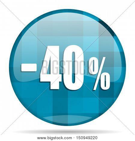 40 percent sale retail blue round modern design internet icon on white background