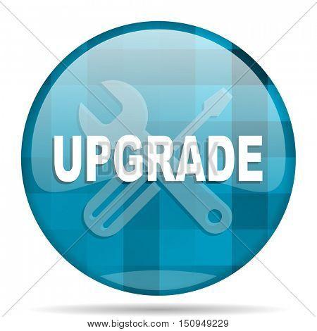 upgrade blue round modern design internet icon on white background