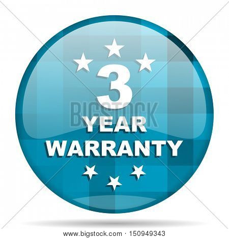 warranty guarantee 3 year blue round modern design internet icon on white background