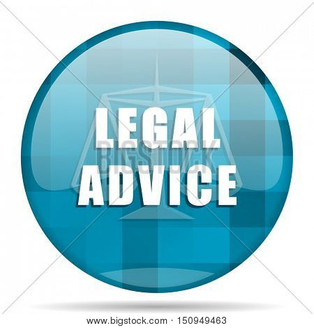 legal advice blue round modern design internet icon on white background