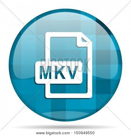mkv file blue round modern design internet icon on white background