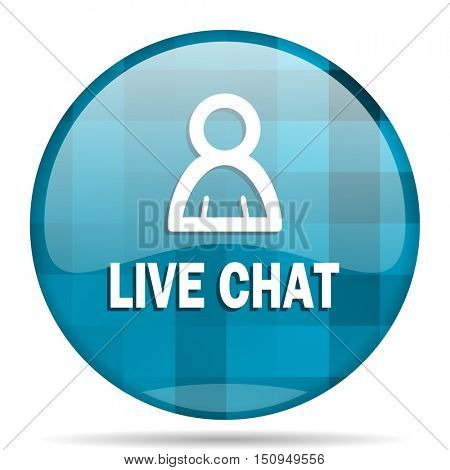 live chat blue round modern design internet icon on white background