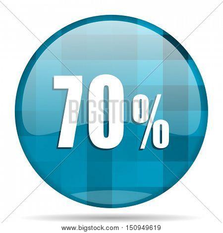 70 percent blue round modern design internet icon on white background