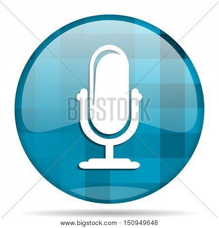 microphone blue round modern design internet icon on white background