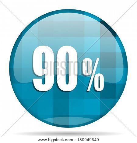 90 percent blue round modern design internet icon on white background