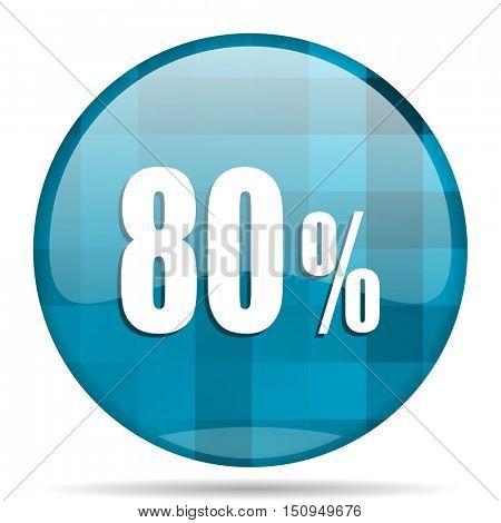 80 percent blue round modern design internet icon on white background