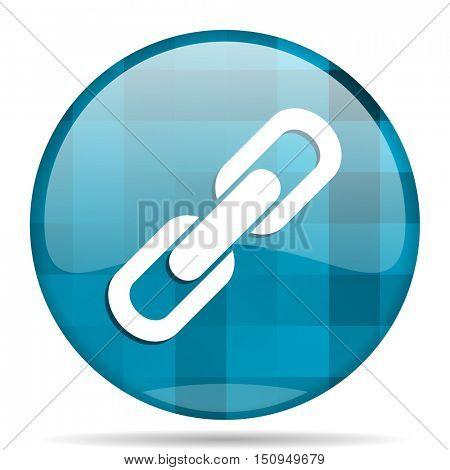 link blue round modern design internet icon on white background
