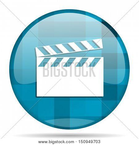 video blue round modern design internet icon on white background