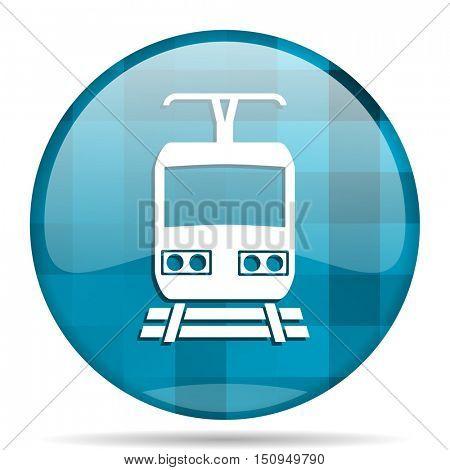 train blue round modern design internet icon on white background