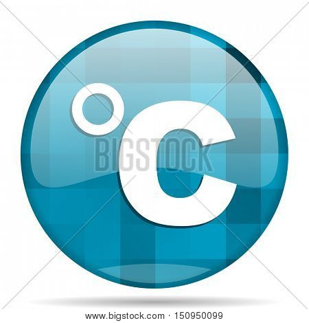 celsius blue round modern design internet icon on white background