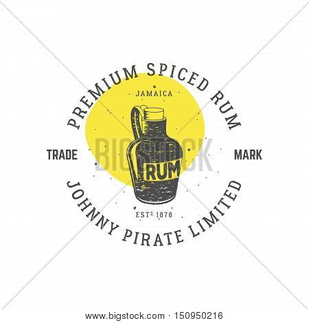 Vintage handcrafted pirate rum emblem, alcohol label, logo. Isolated on white background. Sketching filled style. Pirate and sea symbols - old rum bottle. Good for tavern, cafe. Vector.