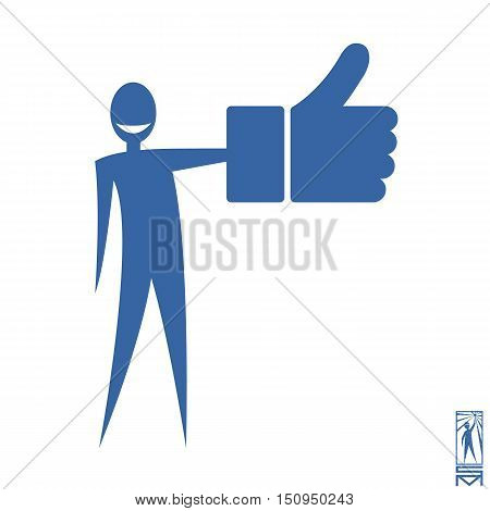 Man Person Basic body position Stick Figure Icon silhouette vector sign,Like, icon Social media arm up, facebook, logo, button, blue, big hand, like stisk