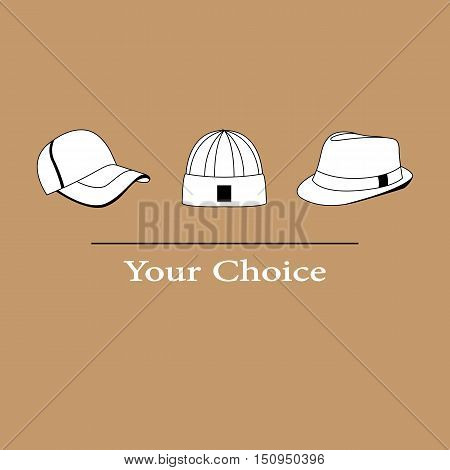 Vector illustration set of men fashion hats to choose from
