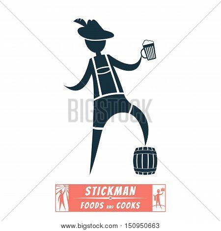 Vector Image chef cook stick figure and cooked them meals Bavarian, Tyrolean, German, beer, shorts, stick figure, barrel, hat, leather shorts