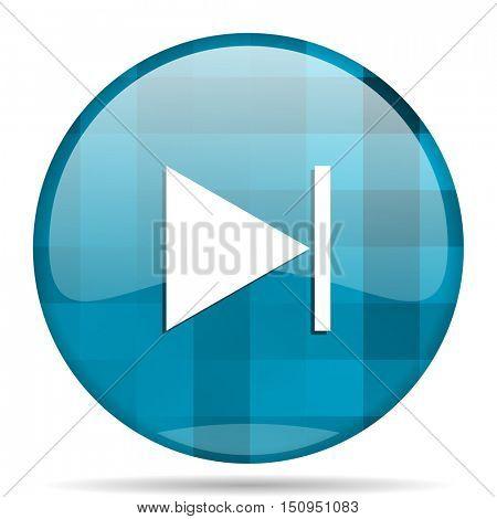 next blue round modern design internet icon on white background