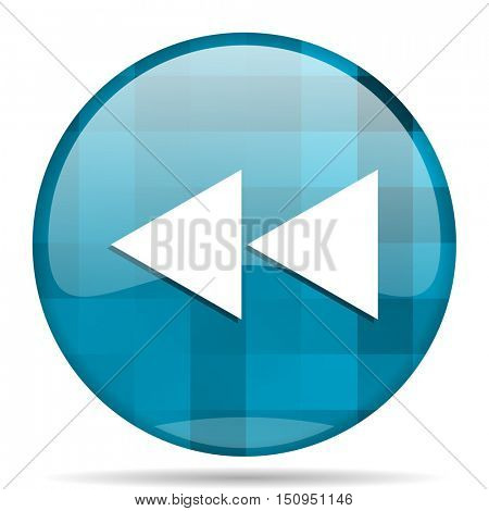 rewind blue round modern design internet icon on white background