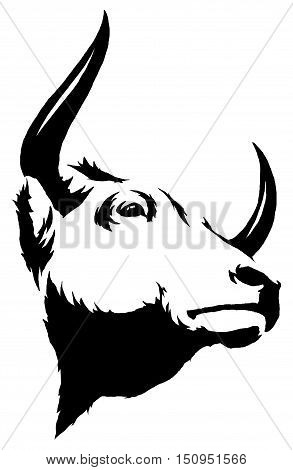 black and white linear draw bull illustration