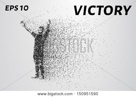 People from particles. The celebration of the victory of small circles