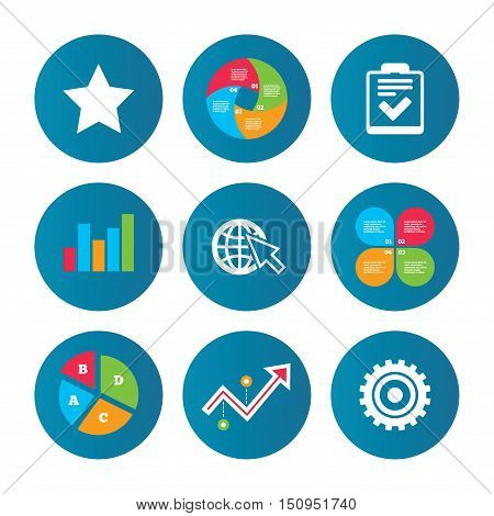Business pie chart. Growth curve. Presentation buttons. Star favorite and globe with mouse cursor icons. Checklist and cogwheel gear sign symbols. Data analysis. Vector