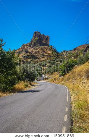 Scenic View To The Mountain Near Colomera In Spain