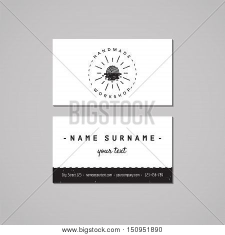 Handmade workshop business card design concept. Logo with yarn ball as rising sun and water. Vintage hipster and retro style. Black and white.