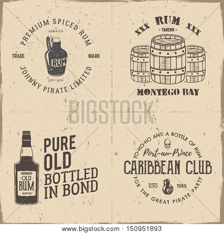 Set of vintage handcrafted pirates emblems, labels, logos. Isolated on a scratched paper background. Sketching filled style. Pirate and sea symbols - old rum bottles, barrels, skull. Vector illustration