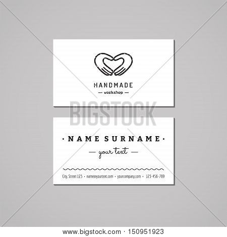 Handmade workshop business card design concept. Logo with hands making heart. Vintage hipster and retro style. Black and white.