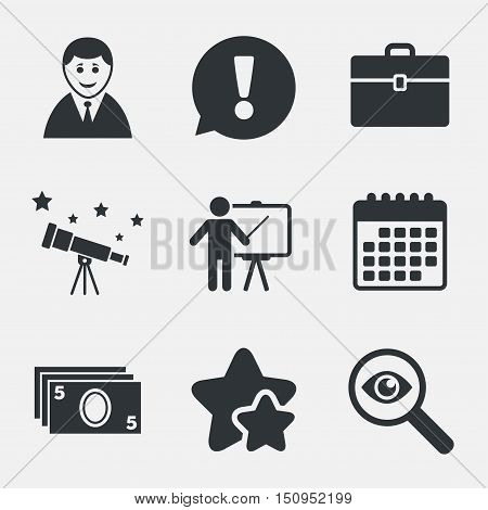 Businessman icons. Human silhouette and cash money signs. Case and presentation symbols. Attention, investigate and stars icons. Telescope and calendar signs. Vector