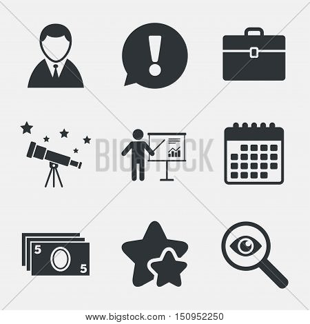 Businessman icons. Human silhouette and cash money signs. Case and presentation with chart symbols. Attention, investigate and stars icons. Telescope and calendar signs. Vector