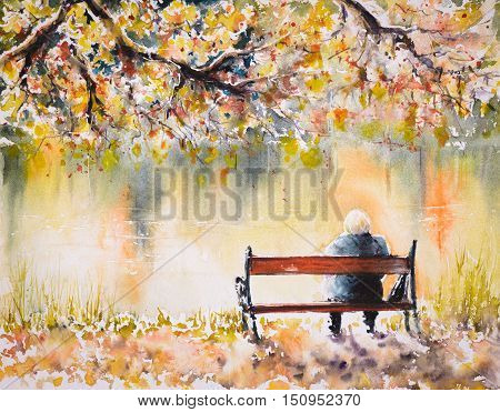 Lonely senior woman sitting on a bench by the autumn lake.Picture created with watercolors.