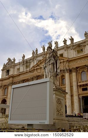 Rome Italy - September 15 2016 : Statue of St. Paul the apostle outside and to the right of the front entrance to St. Peter's Basilica