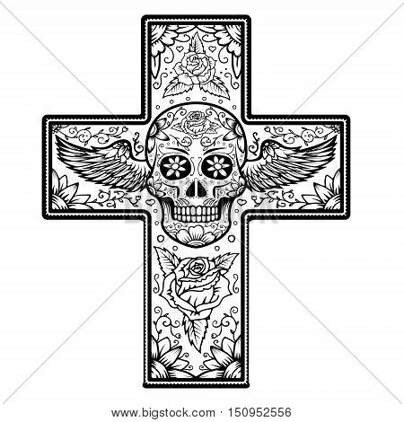 Monochrome Cross with winged sugar skull isolated on white background. Day Of The Dead. Vector illustration.