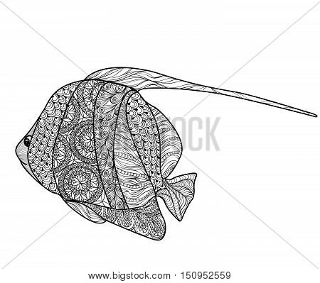 Fish tattoo isolated with ornamental hand drawn pattern. Doodle vector illustration of sea and ocean life collection. Marine life set.