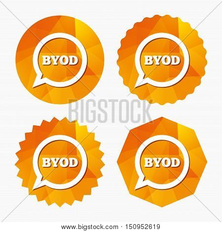 BYOD sign icon. Bring your own device symbol. Speech bubble sign. Triangular low poly buttons with flat icon. Vector