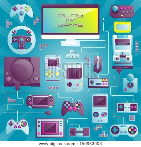 Flat design vector illustration concept of game environment tools and essentials. Various devices. Collection in stylish trendy colors of virtual computer game items and elements.