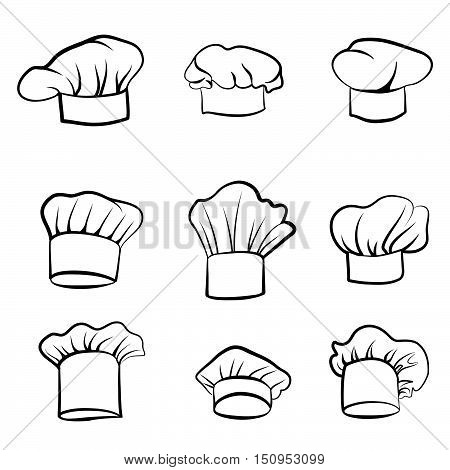 Cook hat. Drawn hat chef cook. Hat chef-cooker. Vector black hat chef cook on a white background