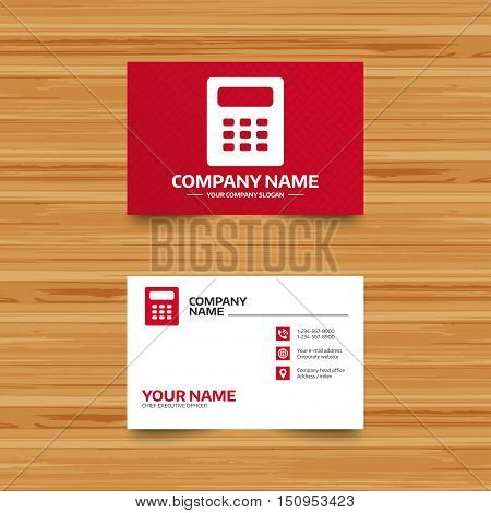Business card template. Calculator sign icon. Bookkeeping symbol. Phone, globe and pointer icons. Visiting card design. Vector