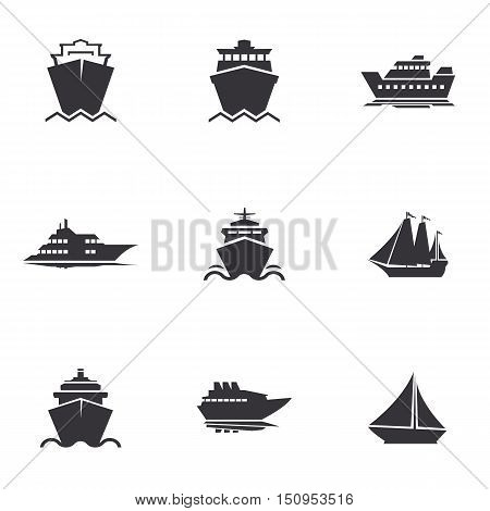 Ships, boats, cargo, logistics, transportation and shipping icons
