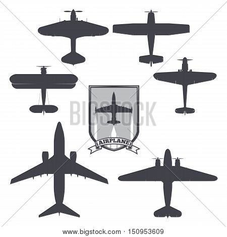 vector image of silhouettes of planes from different eras and countries. coat of arms on the background of the airplane card