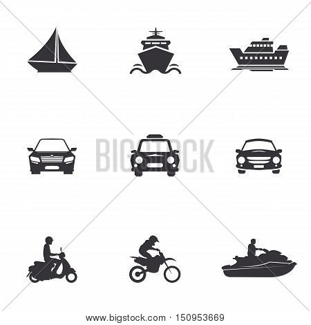 character set of logos of transportation, merchant ships, car, scooter, jet ski, water bike, motorcycle, motocross bikes, cross,sailboat, yacht