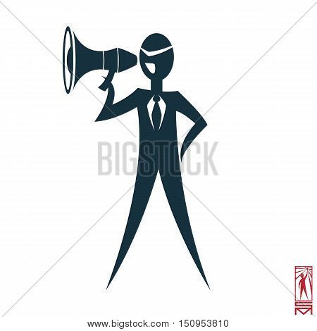 Man Person Basic body position Stick Figure Icon silhouette vector sign,businessman tie,the symbol of power, megaphone, shouting, command, head
