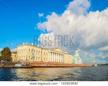 ST PETERSBURG RUSSIA - OCTOBER 3 2016. Architecture landmark of St Petersburg - the buildings of the St Petersburg Academy of Sciences and Kunstkamera on Vasilevsky Island in St Petersburg Russia