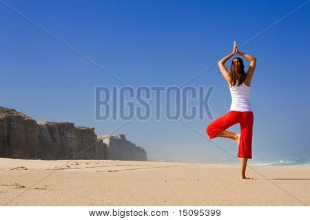 Beautiful young woman making Yoga exercises on the beach