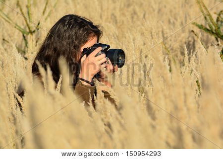 Young long haired brunette lady nature photographer taking photos of tall golden colored grass in the middle of autumn field close up side view